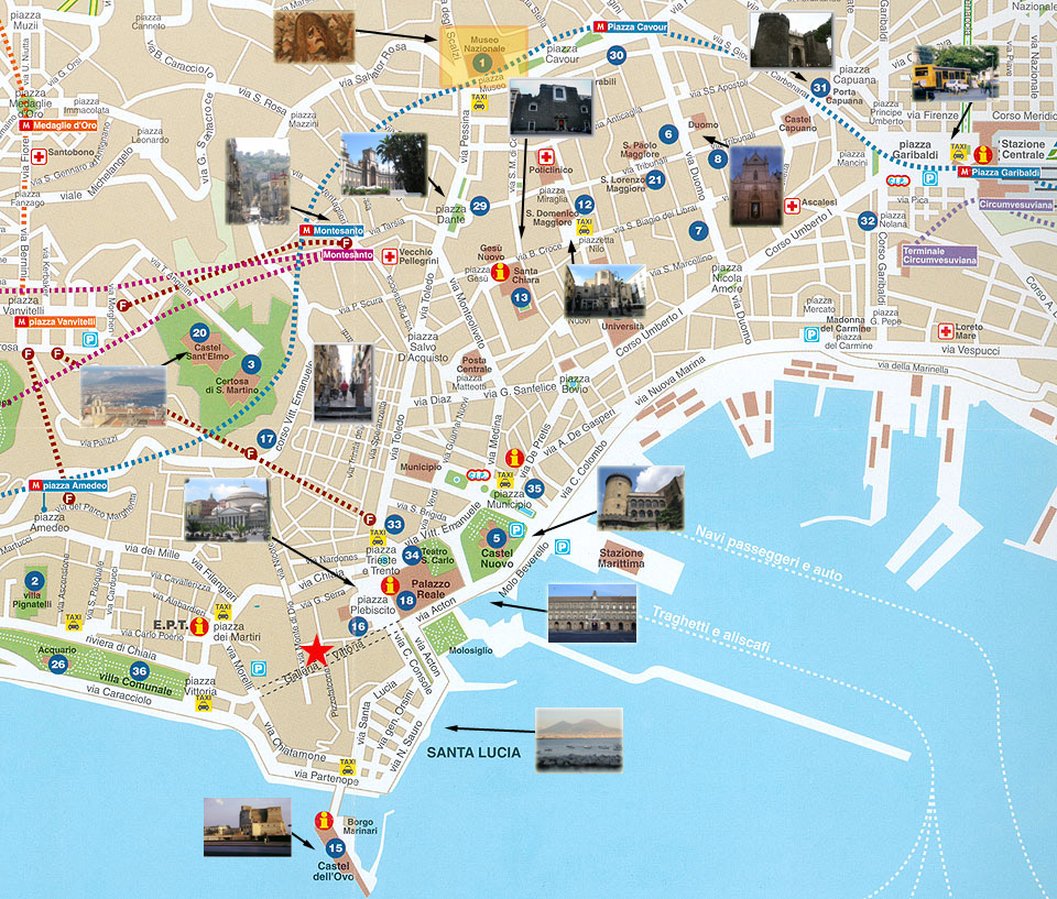 Carte de Naples : sites touristiques