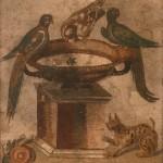colombe che si abbeverano, casa delle colombe, pompei