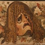 festone con maschera, foglie e frutta - casa del fauno, pompei
