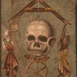 mosaico con teschio ed archipendolo, bottega RI52, triclinio, pompei