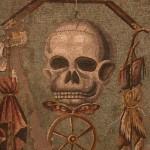 mosaico con teschio ed archipendolo, pompei