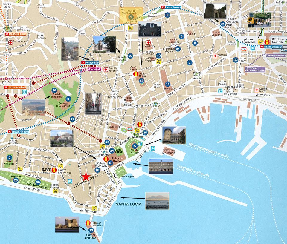 Carte de naples sites touristiques for Carte touristique