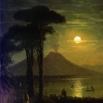 Ivan Aivazovsky, the bay of naples at night vesuvius, 1840