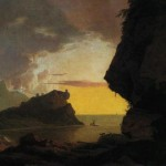 Joseph Wright, sunset on the coast near naples