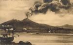 Foto antica di Napoli, vesuvio in eruzione