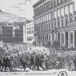 Palazzo reale di napoli, 11 febbraio 1848, litografia